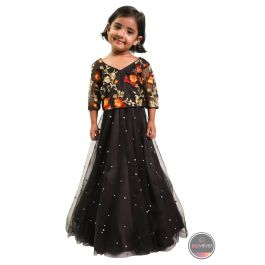 Black Floral Gown for Baby by Sambir Shrestha